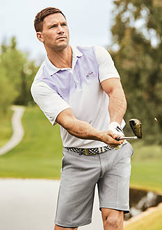 Greg Norman® Collection Short Sleeve Ombre Print Polo Shirt & Stretch Shorts Collection