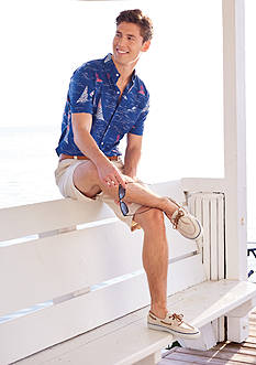 IZOD Short Sleeve Sailboat Print Woven Shirt & Flat Front Saltwater Shorts Collections