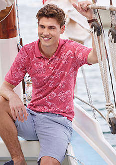 IZOD Short Sleeve Shrimp Print Pique Polo & Seersucker Flat Front Shorts Collection