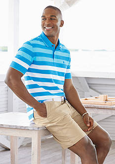 IZOD Engineered Stripe Advantage Polo & Flat Front Saltwater Shorts Collection