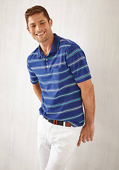 Saddlebred® Short Sleeve Stripe Jersey Polo Shirt & Straight Fit Flat Front Wrinkle Resistant Dress Pants Collection