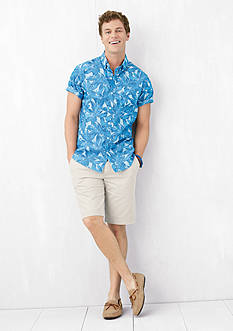 IZOD Advantage Leaf Print Short Sleeve Shirt & Stretch Saltwater Flat Front Shorts Collection