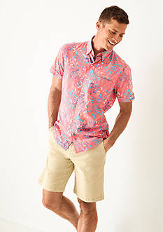 IZOD Short Sleeve Pineapple Print Shirt & Seaport Poplin Short Collection