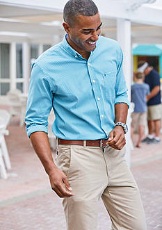 IZOD Advantage Stretch Non-Iron Gingham Shirt & Classic Fit Saltwater Flat Front Pants Collection