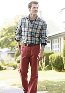 Saddlebred® Saddlebred® Long Sleeve Flannel Shirt, Long Sleeve Jersey Crew Shirt, Straight Fit Five Pocket Twill Pants & 32mm Black/Brown Reversible Belt