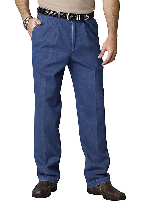 Haggar 174 Classic Fit Work To Weekend Pleated Denim Non