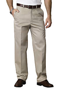 Classic Fit  Flat Front Wrinkle-Free Pants