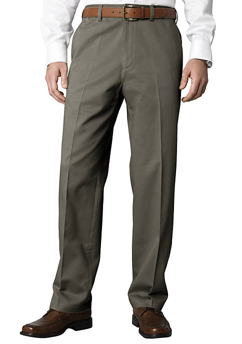 Straight-Fit Flat-Front Performance Comfort Waist Chino Pants
