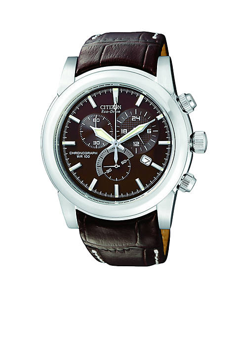 Citizen Eco-Drive Mens Stainless Steel Brown Strap Watch