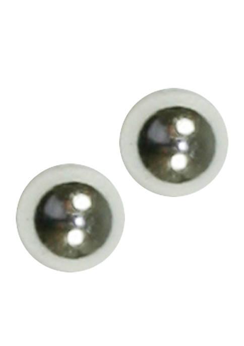 Small Silver-Tone Ball Earring
