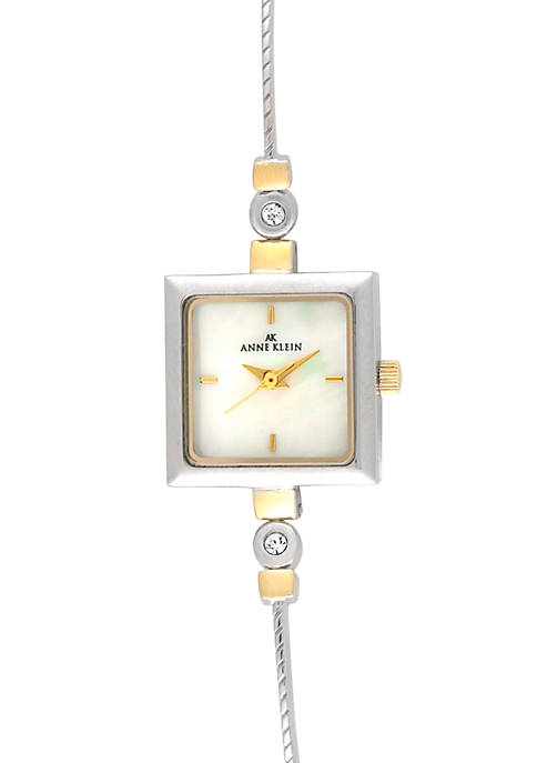 Anne Klein Ladies Crystal Square Watch