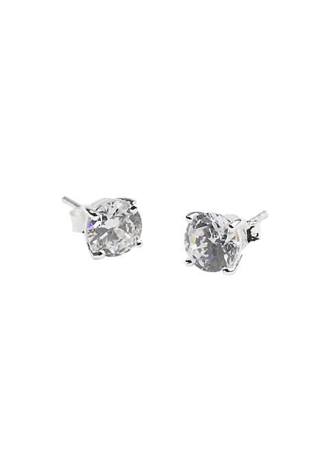 Belk Silverworks 6.5MM Round Cubic Zirconia Earrings