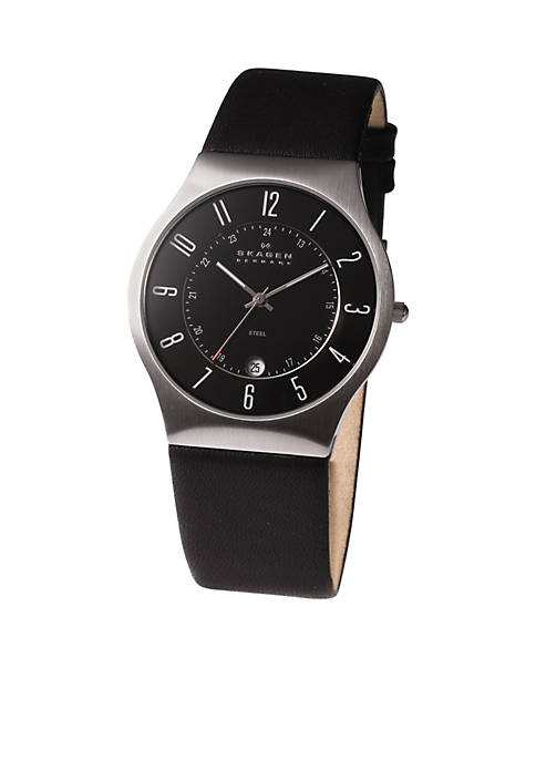 Skagen Mens Steel Watch and Black Leather Strap