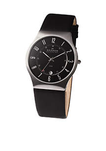 Men's Steel Watch and Black Leather Strap