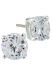 Round Cubic Zirconia Sterling Silver Earrings