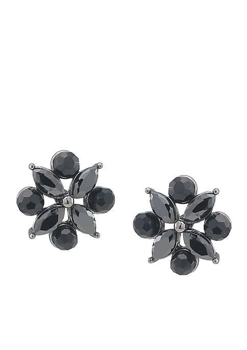 Carolee Diamond Shaped Jet Button Earrings