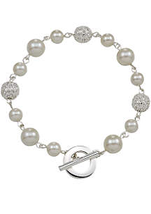 Mixed Millimeter Pearl and Pave Ball Bracelet