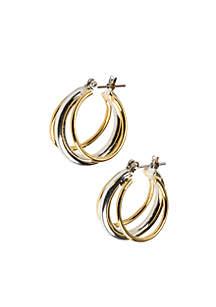Sensitive Skin Two Tone Hoop Earrings
