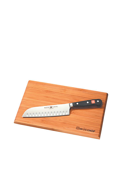 Classic 2-Piece Santoku Knives Set with Cutting Board