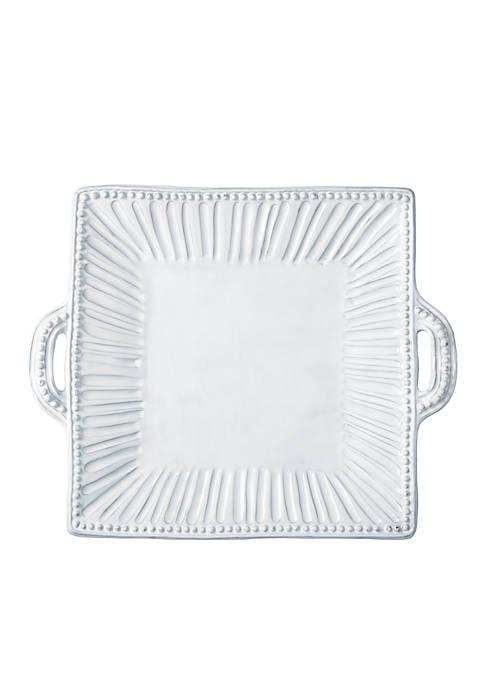 Vietri Incanto White Square Platter with Handles